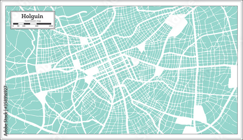 Photo Holguin Cuba City Map in Retro Style. Outline Map.