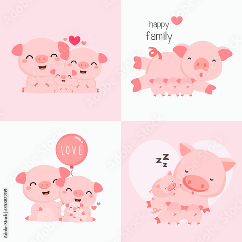 Fotografie, Obraz Cute  Animal Family. Father Mother and baby. Vector illustration.