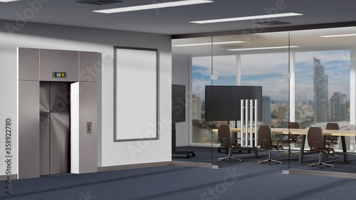 Photo Elevator and meeting room on carpet floor 3D rendering