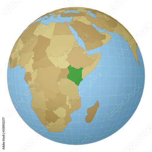Globe centered to Kenya. Country highlighted with green color on world map. Satellite projection view. Vector illustration. Wall mural