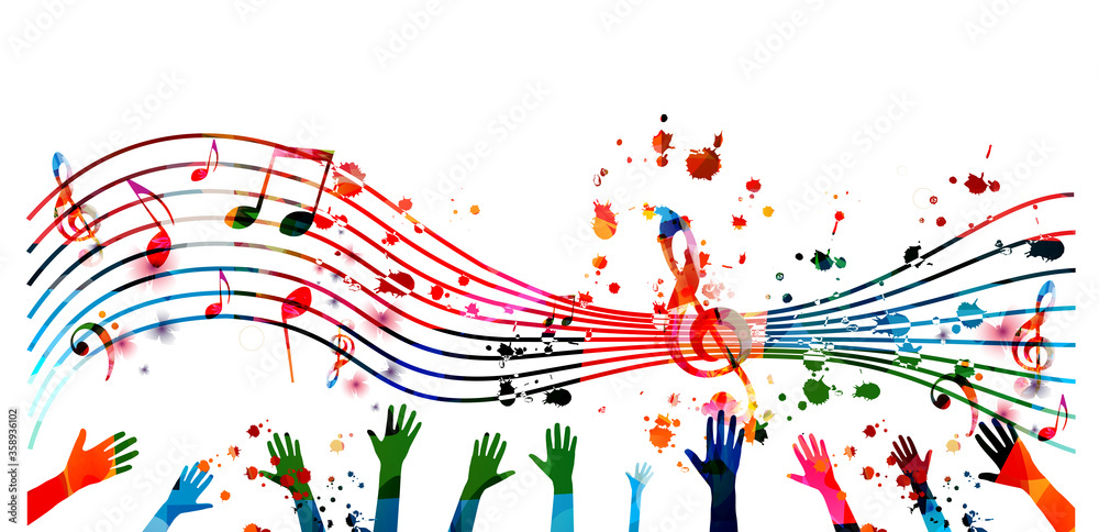 Fototapeta Music background with colorful G-clef, music notes and hands vector illustration design. Artistic music festival poster, live concert events, party flyer, music notes signs and symbols