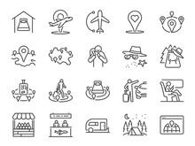 Local Tourism Line Icon Set. I...