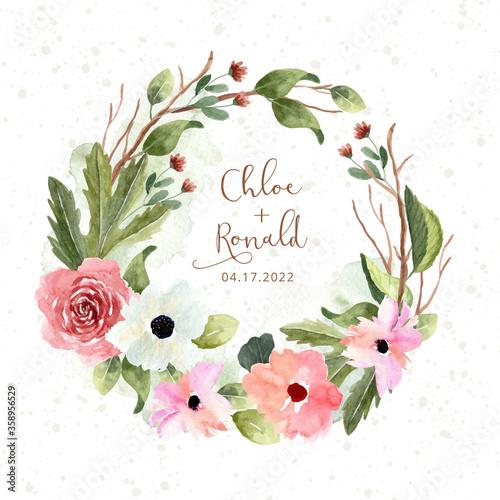 Obraz pink green flower garden watercolor wreath - fototapety do salonu