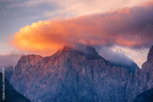Fototapeta Triglav mountain peak at sunrise obraz