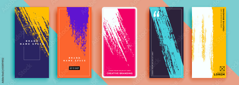 Fototapeta Trendy editable template for social networks stories, vector illustration. Design backgrounds for social media.