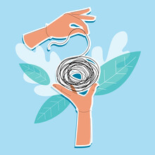 Two Hands Unwind A Tangle Of Problems. Mental Health Therapy