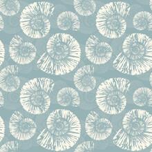Seashells Nautilus Seamless Pattern Vintage Vector Summer Background Illustration
