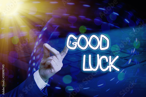 Photo Conceptual hand writing showing Good Luck