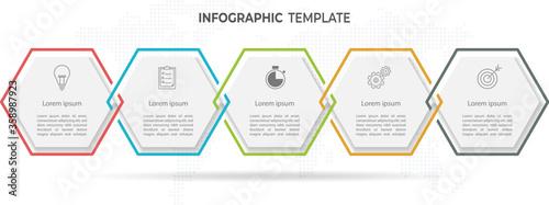 Fotografía Modern hexagon timeline infographic template 5 options.