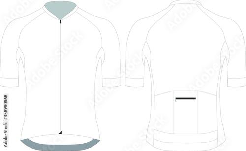 Fototapeta Cycling short sleeve jersey custom design blank template vector illustration