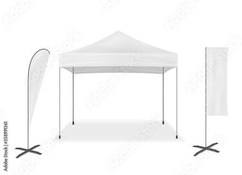 Fototapeta Pop-up mobile tent with event flags, vector mockup
