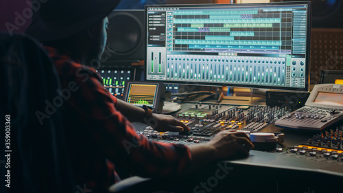 Music Creator, Musician, Artist Works in the Music Record Studio, Uses Surface Control Desk Equalizer Mixer Fototapete
