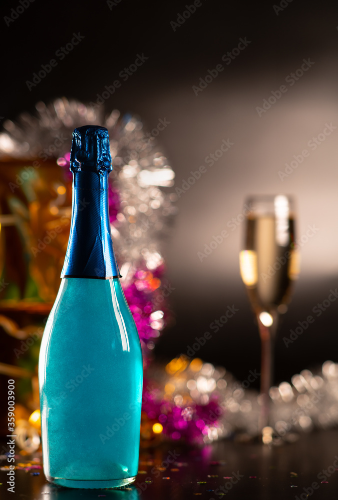 Fototapeta Party concept with bottle of champagne