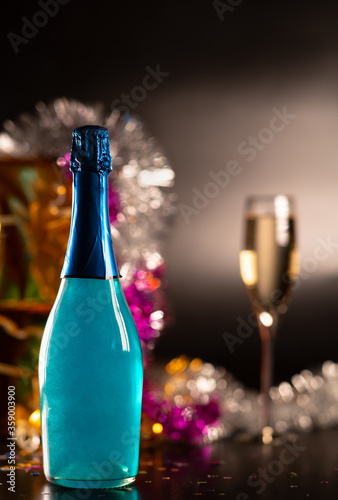 Fototapeta Party concept with bottle of champagne obraz