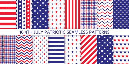 Fotografia, Obraz 4th July seamless pattern