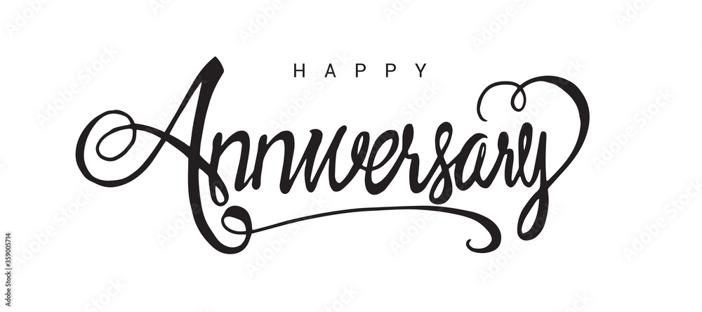 Fototapeta Happy Anniversary lettering text banner, black color. Vector illustration.
