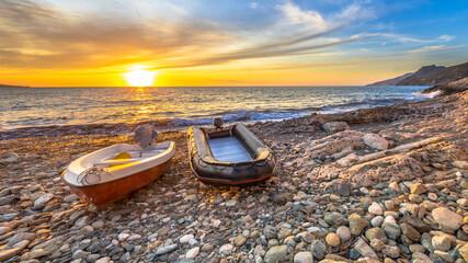 Fototapeta Morze Two boats on beach