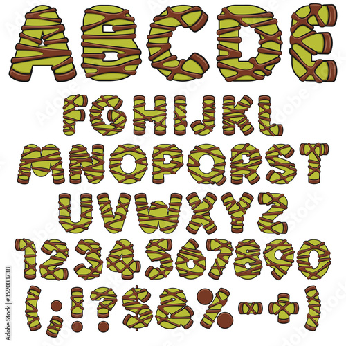 Alphabet, letters, numbers and signs of green punschrulle, dammsugare Fototapete