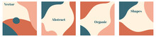 Vector Set Of Minimal Square Backgrounds With Organic Abstract Shapes And Sample Text In Pastel Colors