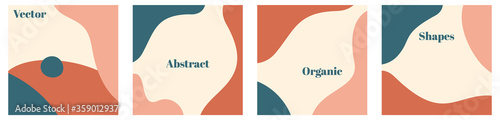 Fototapeta Vector set of minimal square backgrounds with organic abstract shapes and sample text in pastel colors obraz