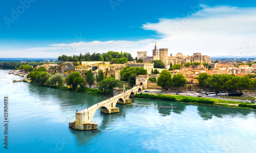 Saint Benezet bridge in Avignon in a beautiful summer day, France #359014193