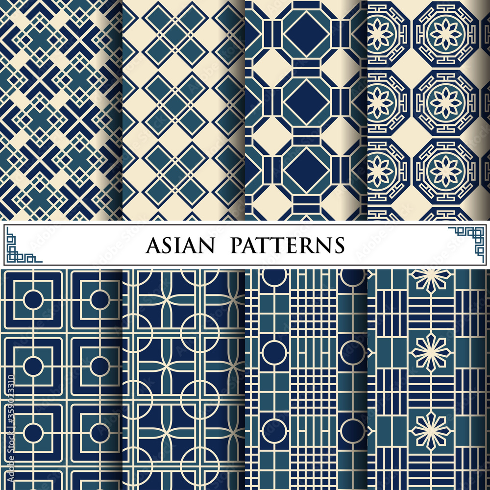 Fototapeta Asian vector pattern for web page background and surface textures