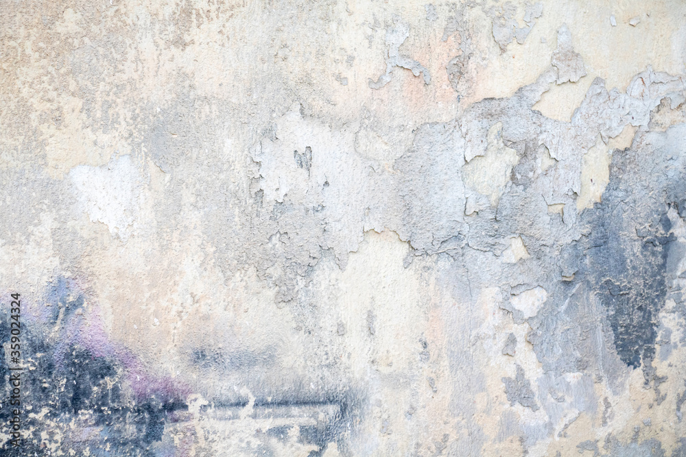 Fototapeta White blue color, painted and faded wall texture grunge background
