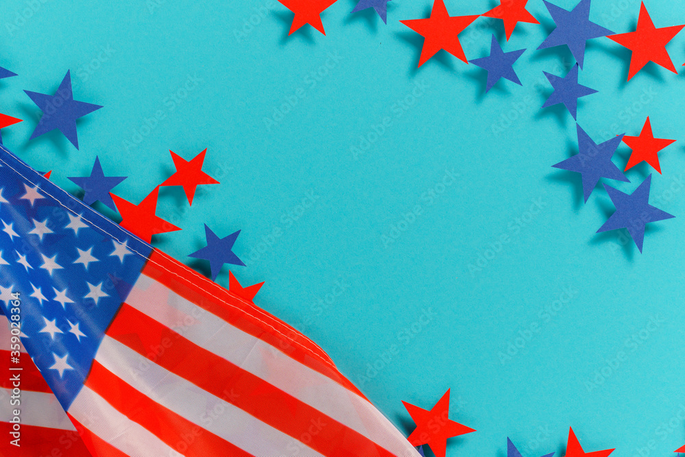 Fototapeta Happy Independence Day 4th july background with american flag decorated of  stars and flag. Holidays table top view. flat lay