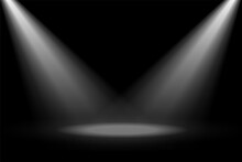 Abstract Stage Spotlight Focus On Black Background