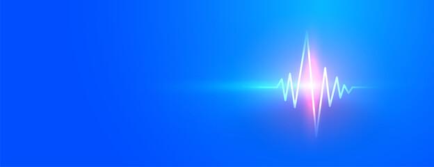 blue medical banner with glowing heartbeat line