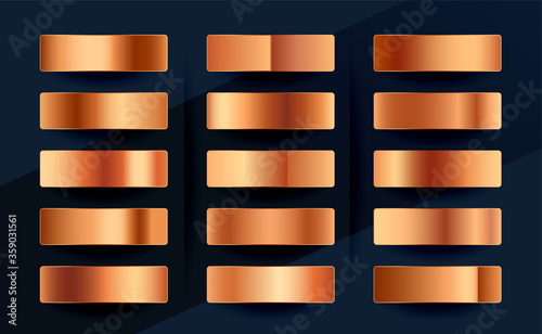 Obraz copper or rose gold premium gradient swatches palette set - fototapety do salonu