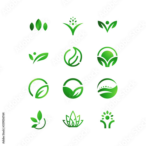Fotomural set of green eco icons