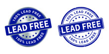 Lead Free Vector Grunge Stamp And Silver Label
