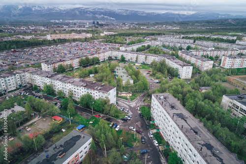 Aerial Townscape of Apatity Town located in Kola Peninsula in Nothern Russia Canvas Print
