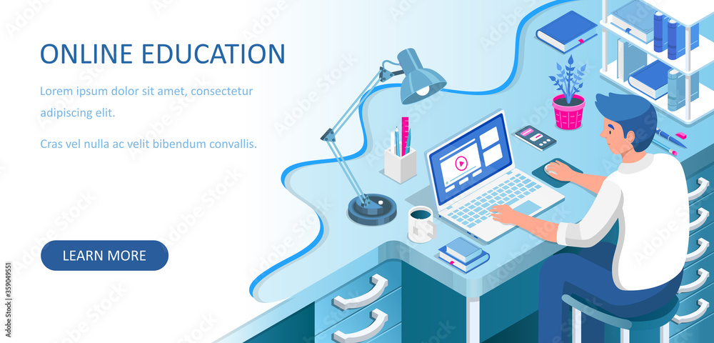 Fototapeta Learning online at home. Student sitting at desk and looking at laptop. E-learning banner. Web courses or tutorials concept. Distance education flat isometric vector illustration.