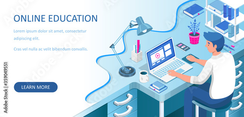 Obraz Learning online at home. Student sitting at desk and looking at laptop. E-learning banner. Web courses or tutorials concept. Distance education flat isometric vector illustration. - fototapety do salonu