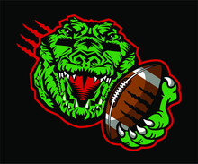 Gator Football Team Mascot Holding Ball For School, College Or League