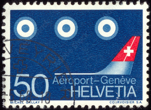 Obraz na plátně SWITZERLAND - CIRCA 1968: A stamp printed in Switzerland, shows the Aircraft Tai