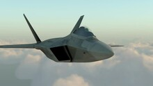 F -22 Raptor , American Military Fighter Plane.Jet Plane. Fly In Clouds. Wonderfull Sunset. Realistic CG 3d Animation