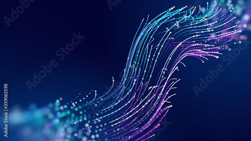 Slika na platnu Futuristic data stream vector background
