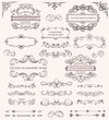 Large set of different decorative calligraphic frames and patterns for use as design elements with copyspace for text, vector illustration