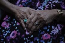Hands Of An Older Senior Woman...