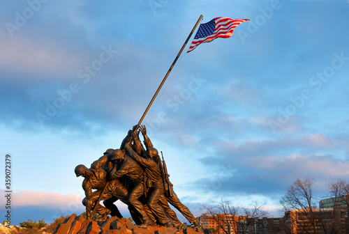 Marine Corps War Memorial at sunrise, Arlington VA. Also known as the Iwo Jima Memorial. It honors United States Marines in all conflicts.