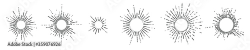 Fotografia Set of six vintage sunburst, sun rays, sunbeams, vector design elements for your
