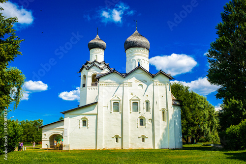 It's Transfiguration Monastery on a sunny day in the town of Staraya Russa, a town in Novgorod District, Russia