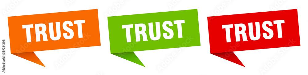 Fototapeta trust banner. trust speech bubble label set. trust sign