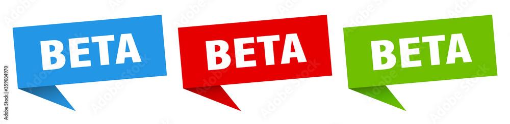 Fototapeta beta banner. beta speech bubble label set. beta sign