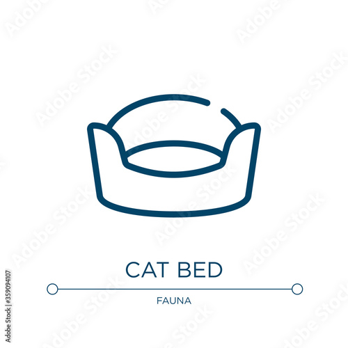 Fototapeta Cat bed icon. Linear vector illustration from pet shop collection. Outline cat bed icon vector. Thin line symbol for use on web and mobile apps, logo, print media. obraz
