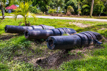 Cannons In The Fort Nieuw Amsterdam, Suriname, South America