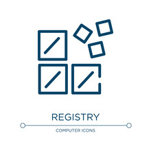 Registry Icon. Linear Vector Illustration From Computer And Media Collection. Outline Registry Icon Vector. Thin Line Symbol For Use On Web And Mobile Apps, Logo, Print Media.